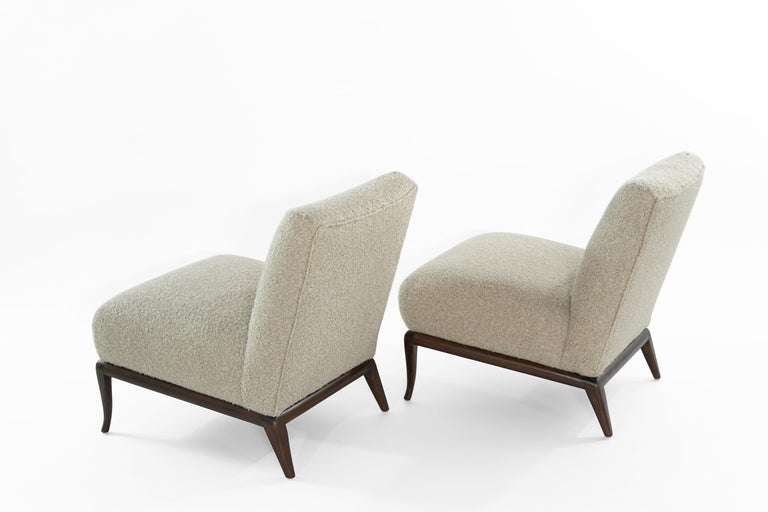 Chenille Slipper Chairs in Bouclé by T.H. Robsjohn-Gibbings, circa 1950s For Sale