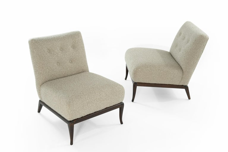 Slipper Chairs in Bouclé by T.H. Robsjohn-Gibbings, circa 1950s For Sale 1