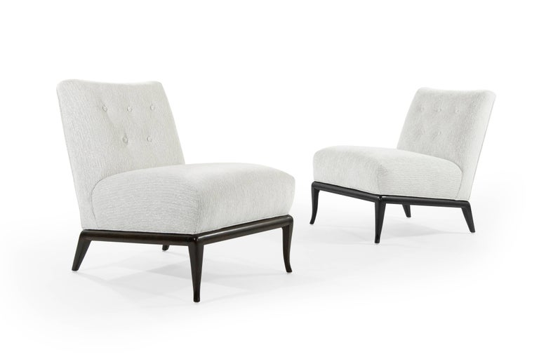 Slipper Chairs in Chenille by T.H. Robsjohn-Gibbings In Excellent Condition For Sale In Stamford, CT