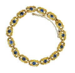 Sloan & Co. 4.50 Carats Sapphire 14 Karat Gold Link Bracelet