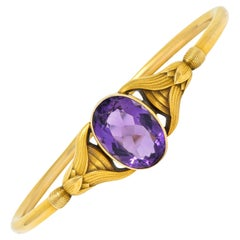 Sloan & Co. Amethyst 14 Karat Gold Egyptian Revival Nouveau Bangle Bracelet