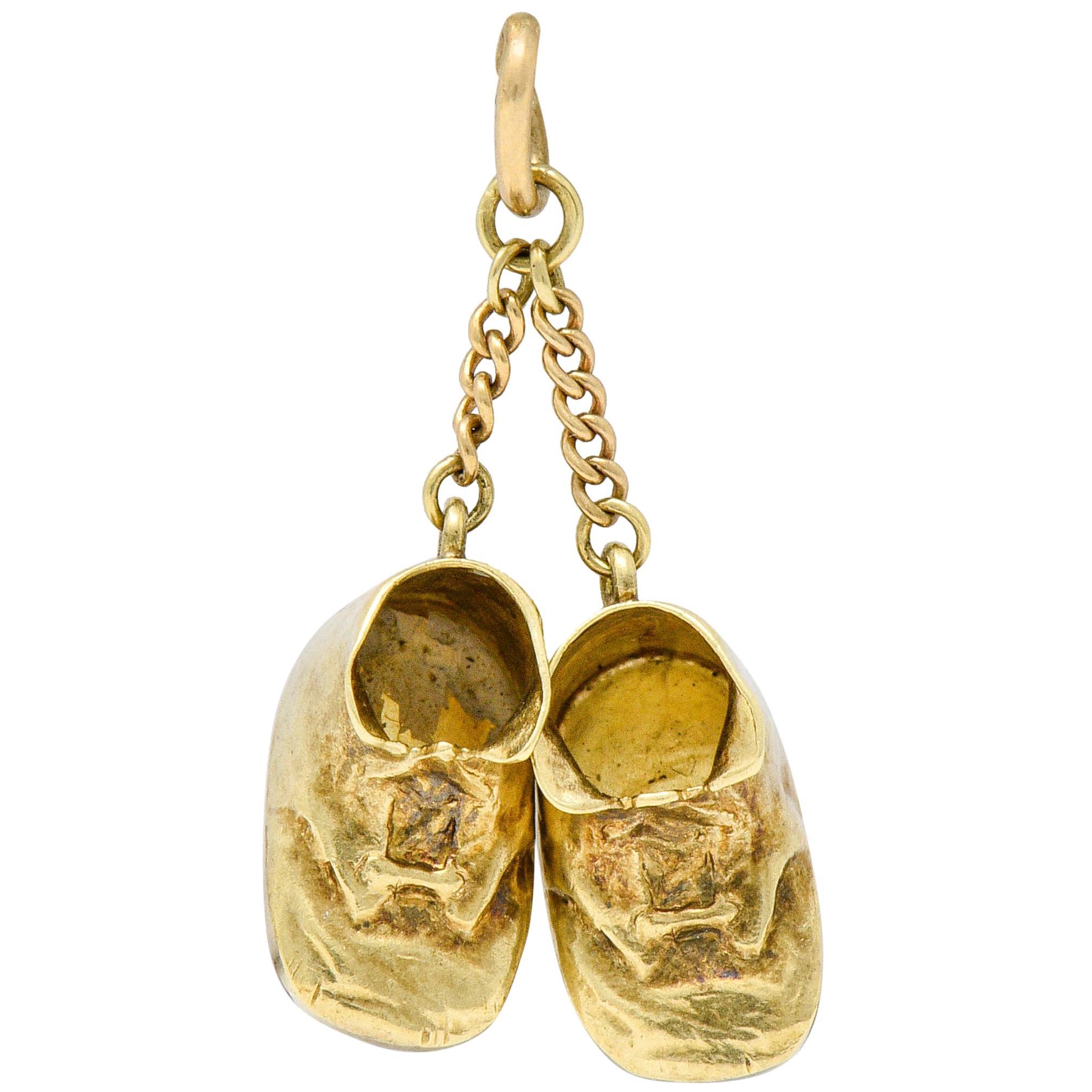 Sloan & Co. Retro 14 Karat Gold Baby Shoe Charm, circa 1940