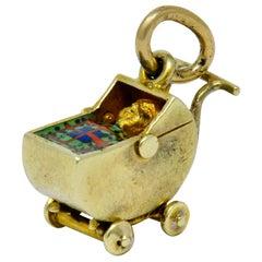 Sloan & Co. Retro Enamel 14 Karat Gold Baby Carriage Charm
