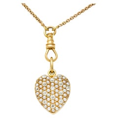 Sloan & Co. Victorian Diamond Seed Pearl 14 Karat Gold Heart Locket Pendant