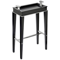Sloane Contemporary Drink Table in Antique Black Lacquer and Polished Nickel