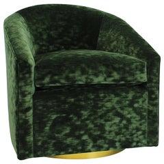 Slope Arm Bucket Swivel Chair w Brass Base & English Racing Green Crushed Velvet