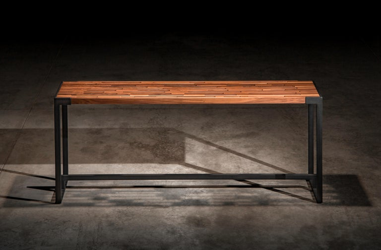 Slotted Solid Walnut Console Table on Black Steel Base \