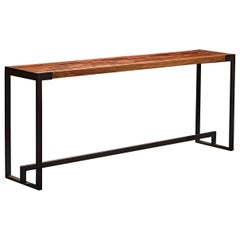 "Slotted Solid Walnut Console Table on Black Steel Base ""Scripps Console Table"""