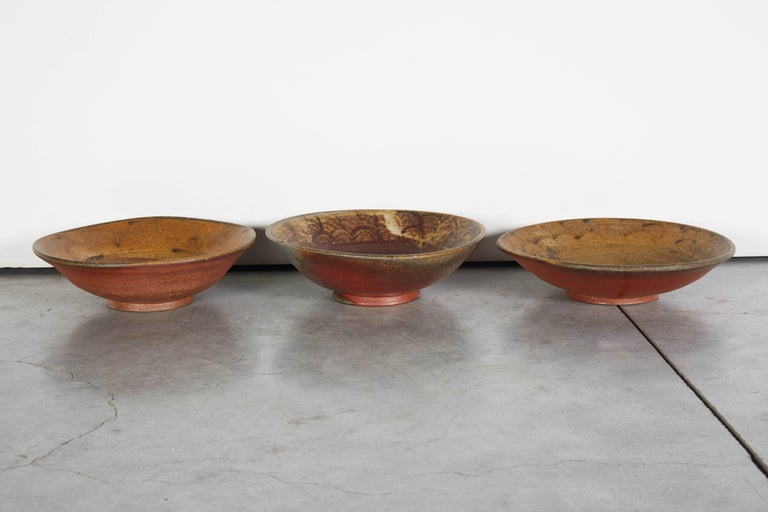 Clay Slow Fired Japanese Bizen Ware Bowls For Sale