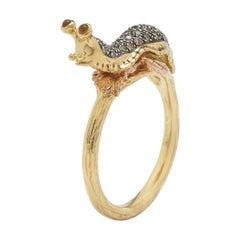 Slug Stackable Ring of Diamonds Yellow and Rose Gold with Citrine Eyes