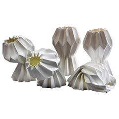"""Slump"" Contemporary Origami Ceramic Vase by Studio Morison, No Slump Variation"