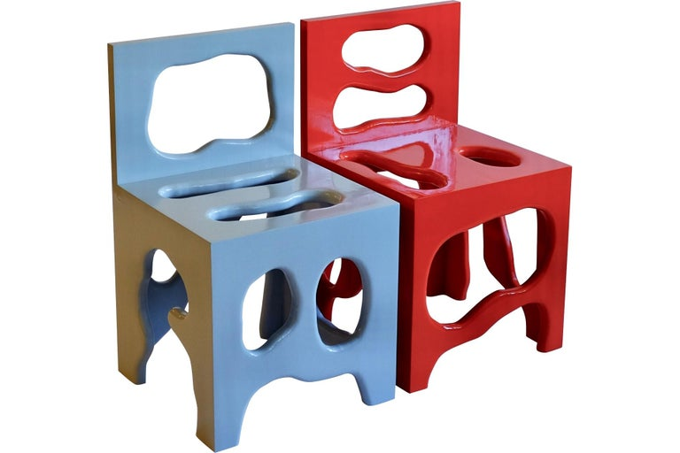 Modern Slurp Chair in Red Laminated Pine by Henrik Ødegaard For Sale