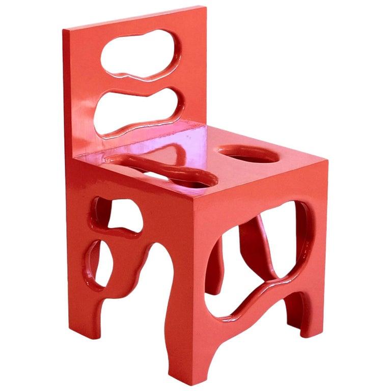Slurp Chair in Red Laminated Pine by Henrik Ødegaard For Sale