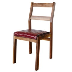 Sluyters Dining Chair with Braided  Ox Blood Leather Seat With Walnut Frame