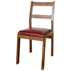 Sluyters Dining Chair with Ox Blood Leather Seat And Walnut Frame
