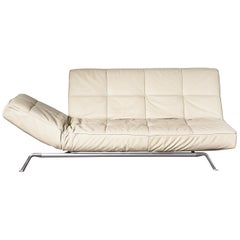 Smala by Ligne Roset Adjustable Daybed Sofa in Beige Leather with Pillow