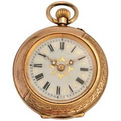 Small 10 Karat Gold and Diamonds Antique Fob Watch