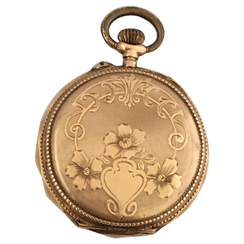 Small 14 Karat Gold Key-Less Fob / Pocket Watch, circa 1900