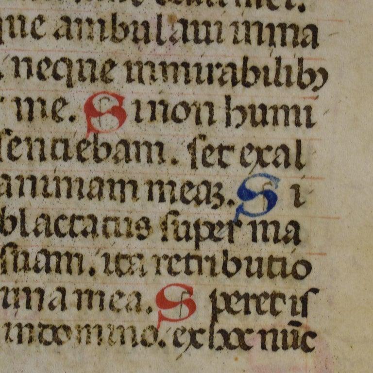 French Small 15th Century Illuminated Vellum Book Page, Handwriting