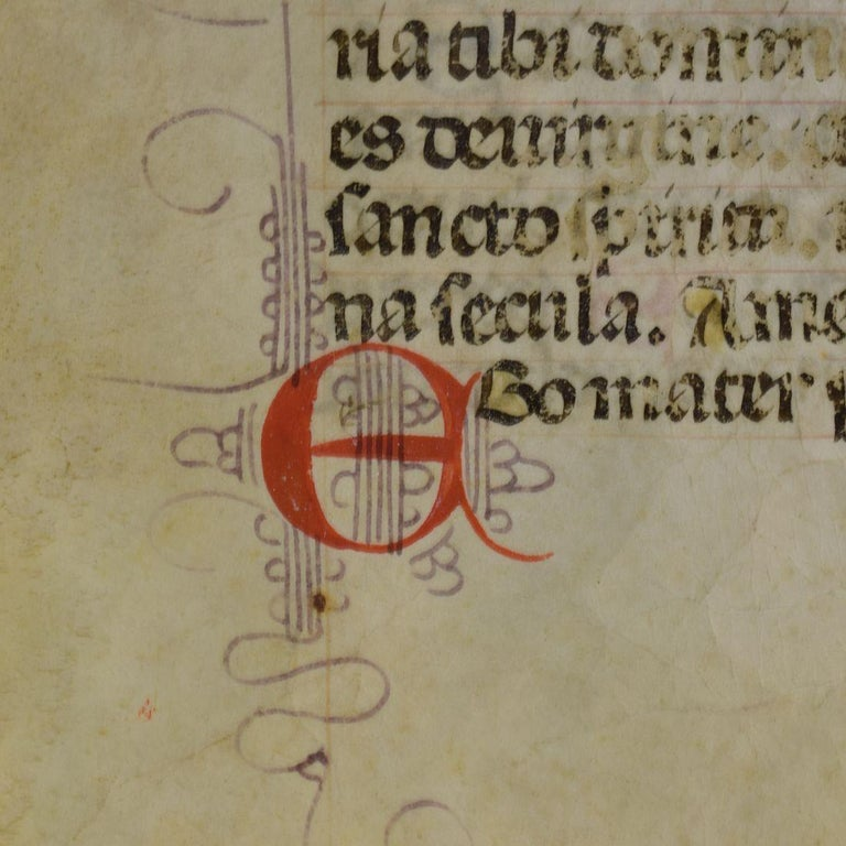 18th Century and Earlier Small 15th Century Illuminated Vellum Book Page, Handwriting