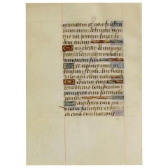 Small 15th Century Illuminated Vellum Book Page, Handwriting