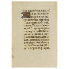 Small 15th Century Illuminated Vellum Book Page, Handwriting