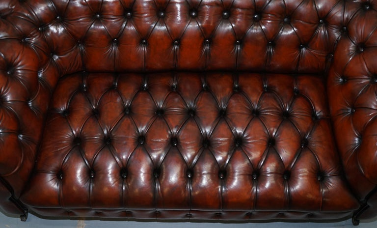 Small Restored Chesterfield Victorian Whisky Brown Leather Sofa For Sale 4