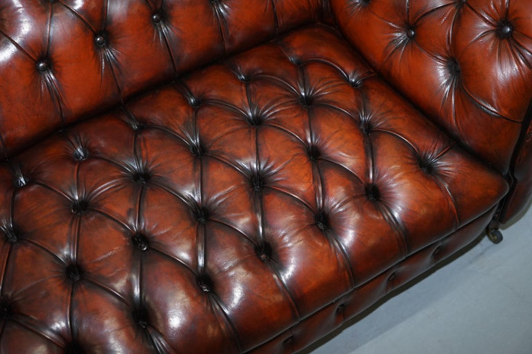 Small Restored Chesterfield Victorian Whisky Brown Leather Sofa For Sale 5