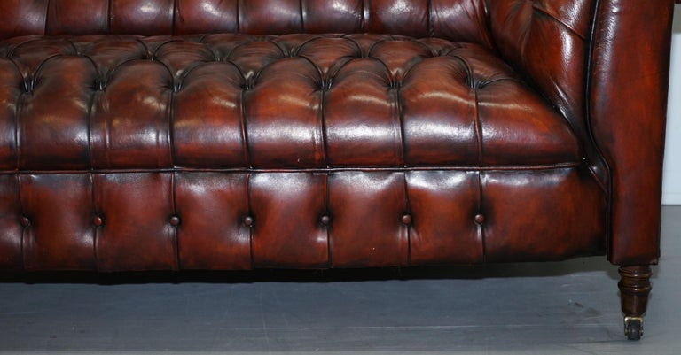 Small Restored Chesterfield Victorian Whisky Brown Leather Sofa For Sale 6