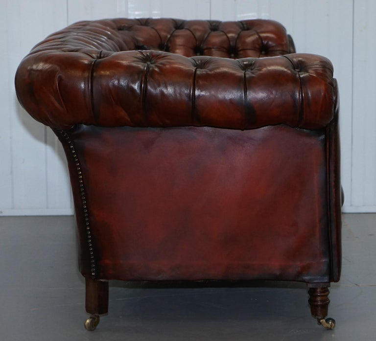 Small Restored Chesterfield Victorian Whisky Brown Leather Sofa For Sale 10