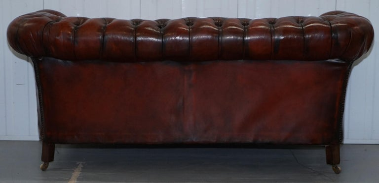 Small Restored Chesterfield Victorian Whisky Brown Leather Sofa For Sale 11