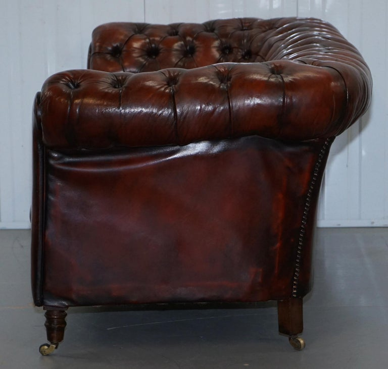 Small Restored Chesterfield Victorian Whisky Brown Leather Sofa For Sale 12