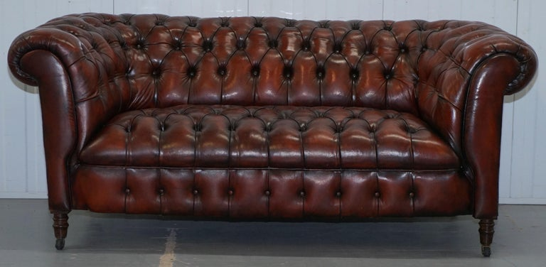We are delighted to offer for sale this stunning fully restored Victorian circa 1880 hand dyed Chesterfield two-seat sofa with fully buttoned base A very good looking piece, rare to find in this small width, they usually start from around 190cm