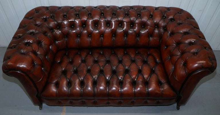 Hand-Carved Small Restored Chesterfield Victorian Whisky Brown Leather Sofa For Sale