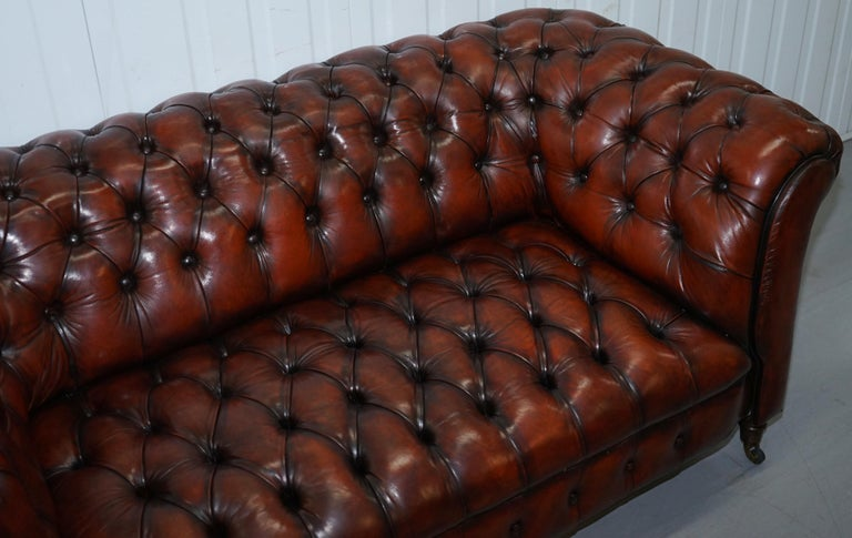 19th Century Small Restored Chesterfield Victorian Whisky Brown Leather Sofa For Sale