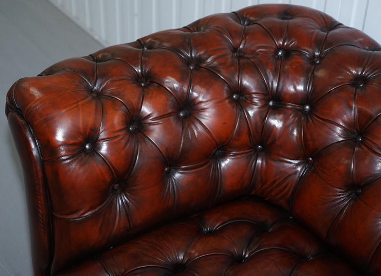 Small Restored Chesterfield Victorian Whisky Brown Leather Sofa For Sale 1