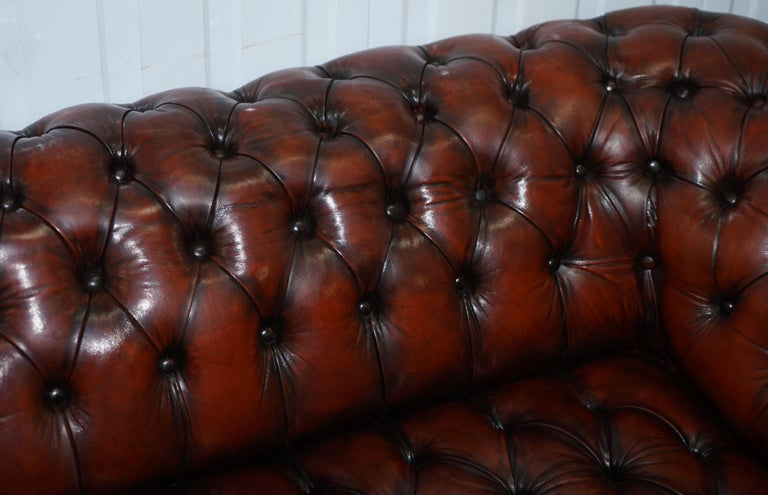 Small Restored Chesterfield Victorian Whisky Brown Leather Sofa For Sale 2