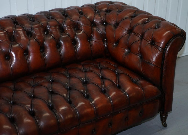 Small Restored Chesterfield Victorian Whisky Brown Leather Sofa For Sale 3