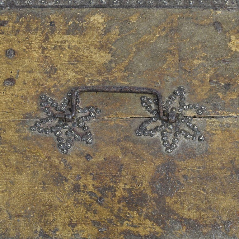 Small 17th Century, French Coffer or Box in Leather For Sale 5