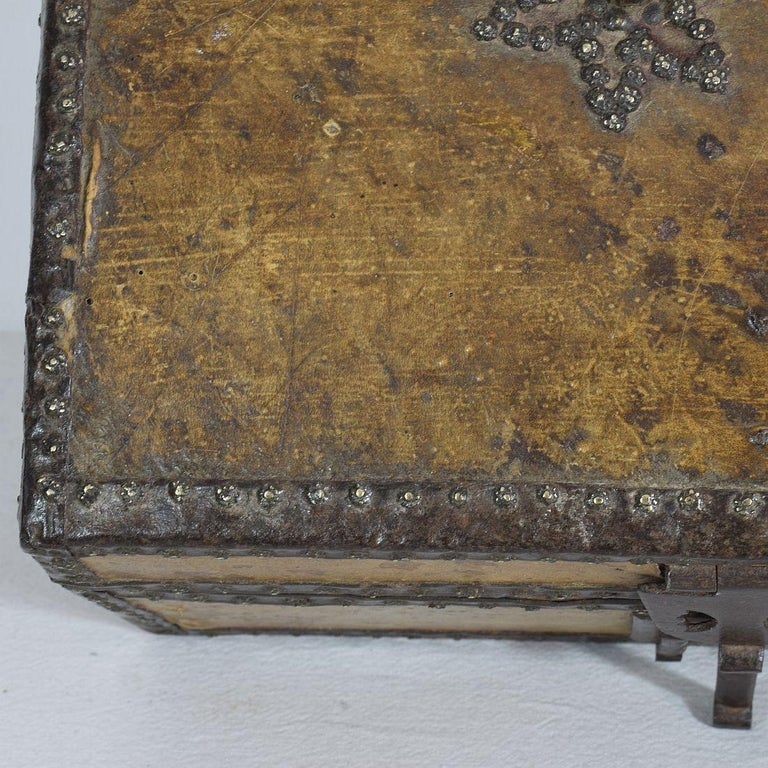 Small 17th Century, French Coffer or Box in Leather For Sale 8