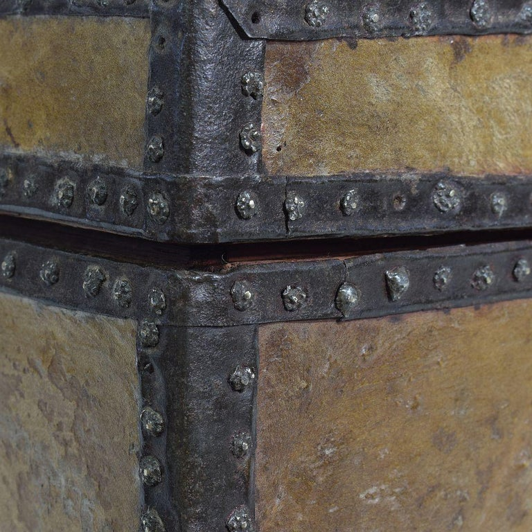 Small 17th Century, French Coffer or Box in Leather For Sale 9