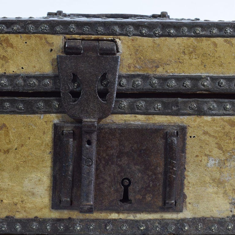 Small 17th Century, French Coffer or Box in Leather For Sale 10
