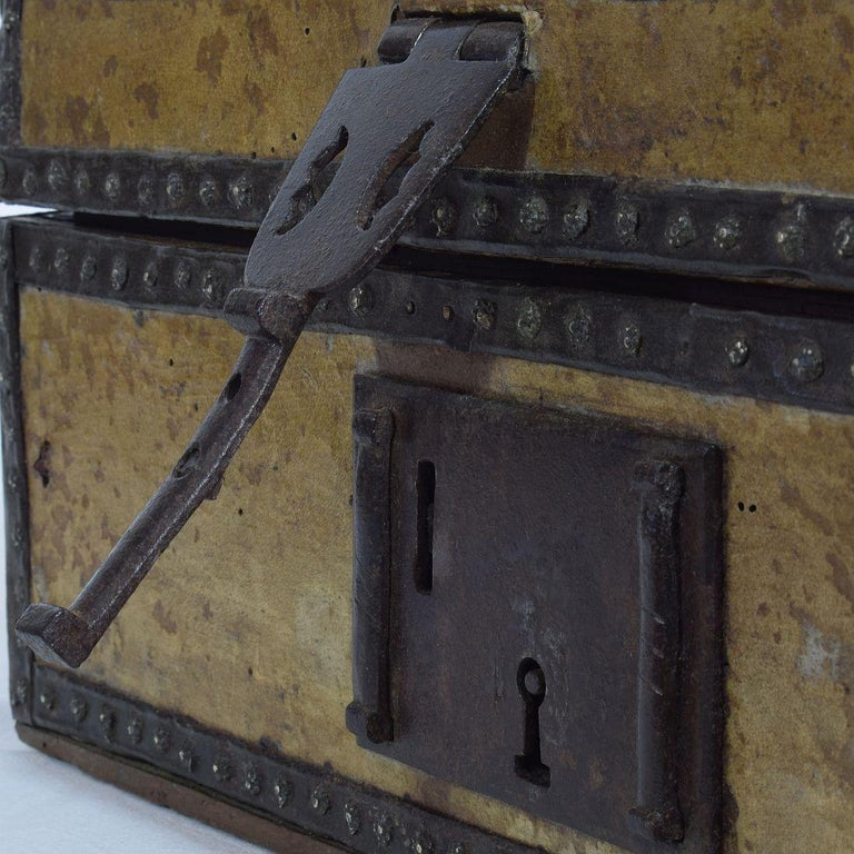 Small 17th Century, French Coffer or Box in Leather For Sale 11