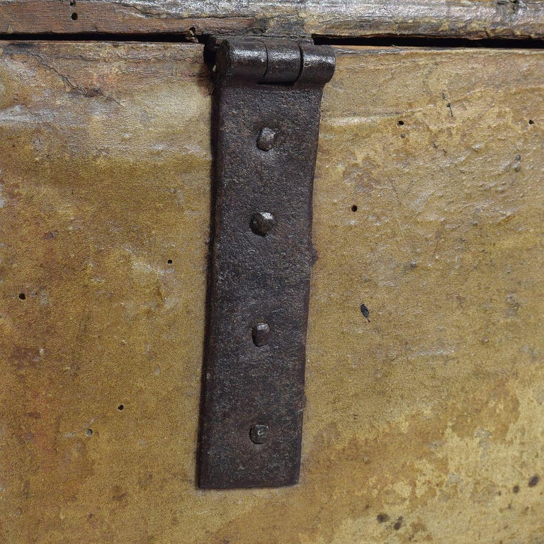 Small 17th Century, French Coffer or Box in Leather For Sale 12