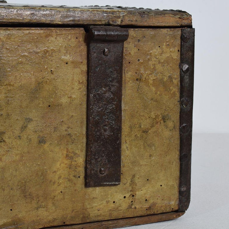 Small 17th Century, French Coffer or Box in Leather For Sale 13