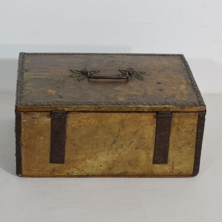 18th Century and Earlier Small 17th Century, French Coffer or Box in Leather For Sale