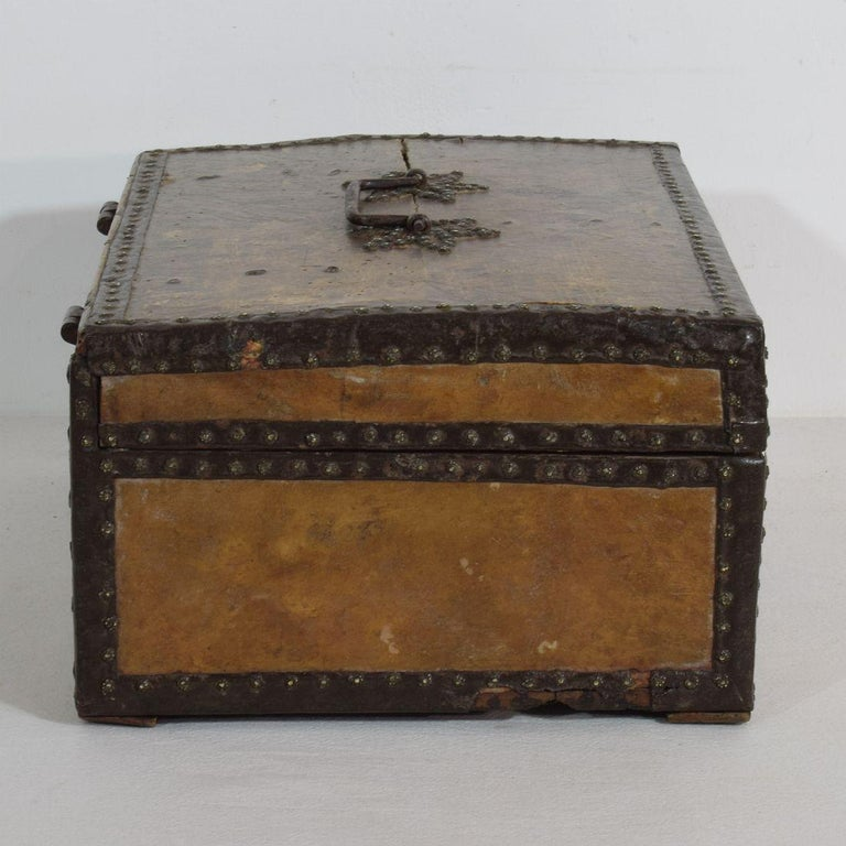 Iron Small 17th Century, French Coffer or Box in Leather For Sale