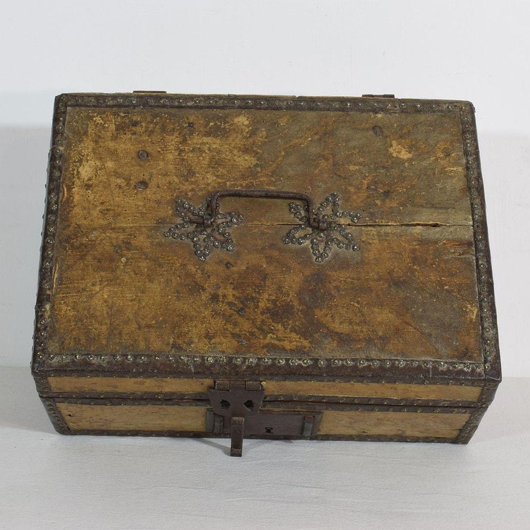 Small 17th Century, French Coffer or Box in Leather For Sale 1