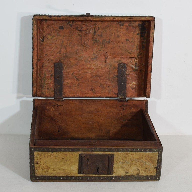 Small 17th Century, French Coffer or Box in Leather For Sale 2