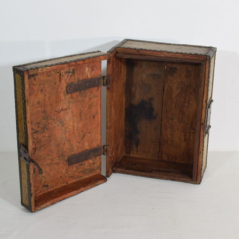 Small 17th Century, French Coffer or Box in Leather For Sale 3
